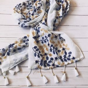 Sunflower floral embroidered tassel scarf